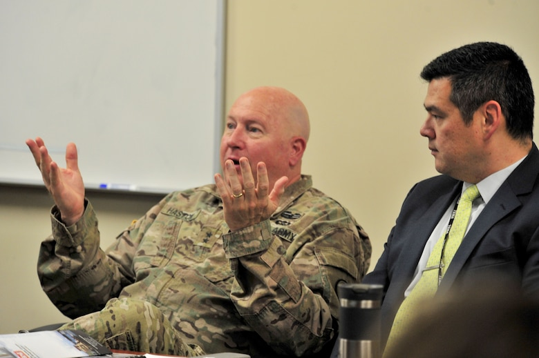 "Maj. Gen. Terry ""Max"" Haston, Tennessee adjutant general, speaks during a partnering meeting at the Tennessee Emergency Management Agency in Nashville, Tenn., Dec. 19, 2017.  Patrick Sheehan, TEMA director, listens to the general during the meeting with the U.S. Army Corps of Engineers Nashville District and Memphis District. Lt. Col. Cullen Jones, U.S. Army Corps of Engineers Nashville District commander, provides input during a partnering meeting at the Tennessee Emergency Management Agency in Nashville, Tenn., Dec. 19, 2017.  The meeting included officials from the Memphis District, TEMA, and Tennessee National Guard. (Photo by Matthew Starling)"
