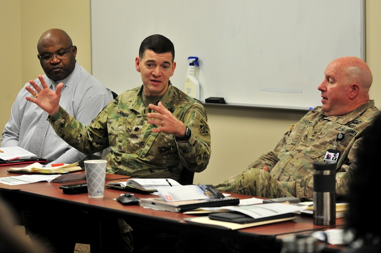 Lt. Col. Cullen Jones, U.S. Army Corps of Engineers Nashville District commander, provides input during a partnering meeting at the Tennessee Emergency Management Agency in Nashville, Tenn., Dec. 19, 2017.  The meeting included officials from the Memphis District, TEMA, and Tennessee National Guard. (Photo by Matthew Starling)