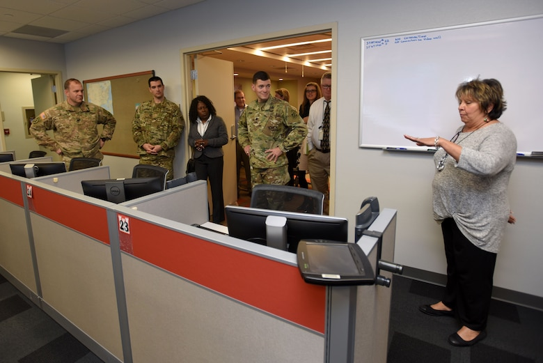 Dee Rivera (Right), U.S. Army Corps of Engineers Nashville District Emergency Management specialist, briefs Memphis District officials Dec. 19, 2017 on the capabilities of the Emergency Management Center at the Nashville District Headquarters in Nashville, Tenn. (USACE photo by Lee Roberts)