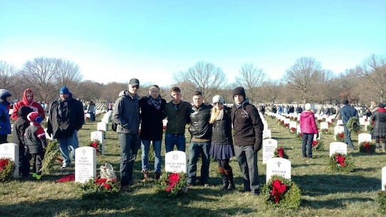 16 December 2017:  A small group of Marines from 2d Radio Battalion, Camp Lejeune, NC visit Sergeant Lucas T. Pyeatt during the Wreath Laying Ceremony at the National Memorial Cemetery, Arlington VA.