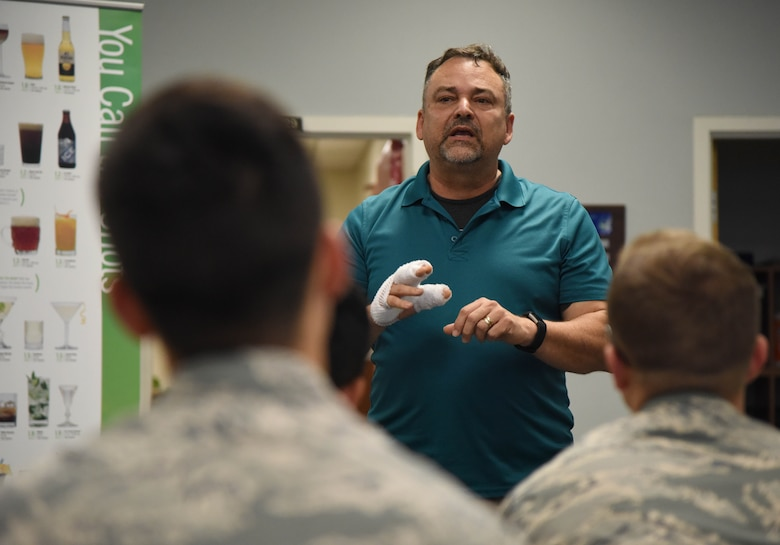 Paul Ahlberg, 81st Medical Operations Squadron certified alcohol drug counselor, speaks to Airmen about alcohol awareness at the 81st Communications Squadron Dec. 19, 2017, on Keesler Air Force Base, Mississippi. December is Impaired Driving Awareness Month. More than 200 people were killed in Mississippi last year in drunk driving related incidents. (U.S. Air Force photo by Kemberly Groue)