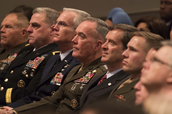 Chairman of the Joint Chiefs of Staff Marine Corps Gen. Joe Dunford, center, and members of the Joint Chiefs of Staff listen as President Donald J. Trump announces a new National Security Strategy, Dec. 18, 2017, at the Ronald Reagan Building and International Trade Center in Washington.