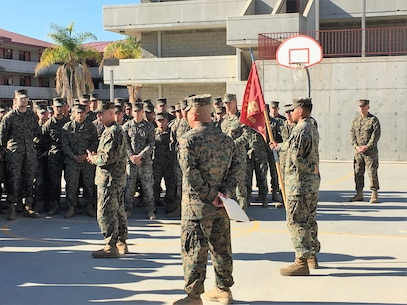 Colonel G. C. Schreffler III, Commanding Officer, 5th Marine Regiment addressed the Marines and Sailors of the regiment on 18 December 2017