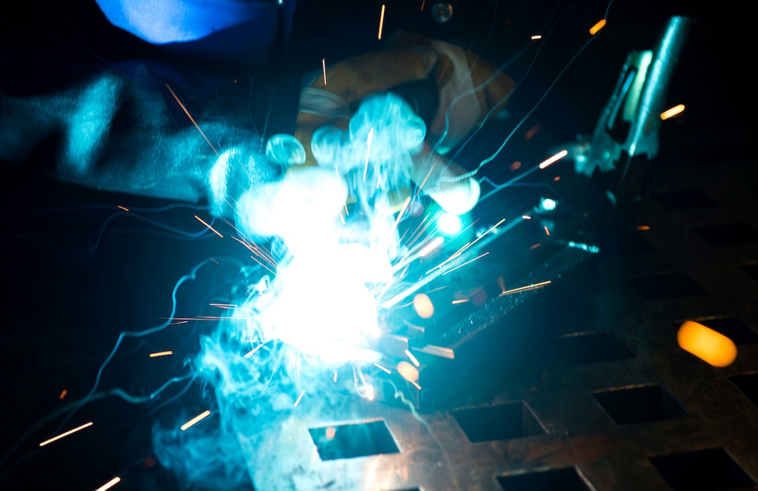 Airman 1st Class Heather Chambers, 23d Maintenance Squadron aircraft metals technology journeyman, performs tungsten inert gas welding on a steel plate, Dec. 19, 2017, at Moody Air Force Base, Ga. Metals technology technicians strive for perfection when fabricating and repairing Team Moody's aircraft and equipment to ensure they maintain their continual high ops tempo. (U.S. Air Force photo by Airman 1st Class Erick Requadt)