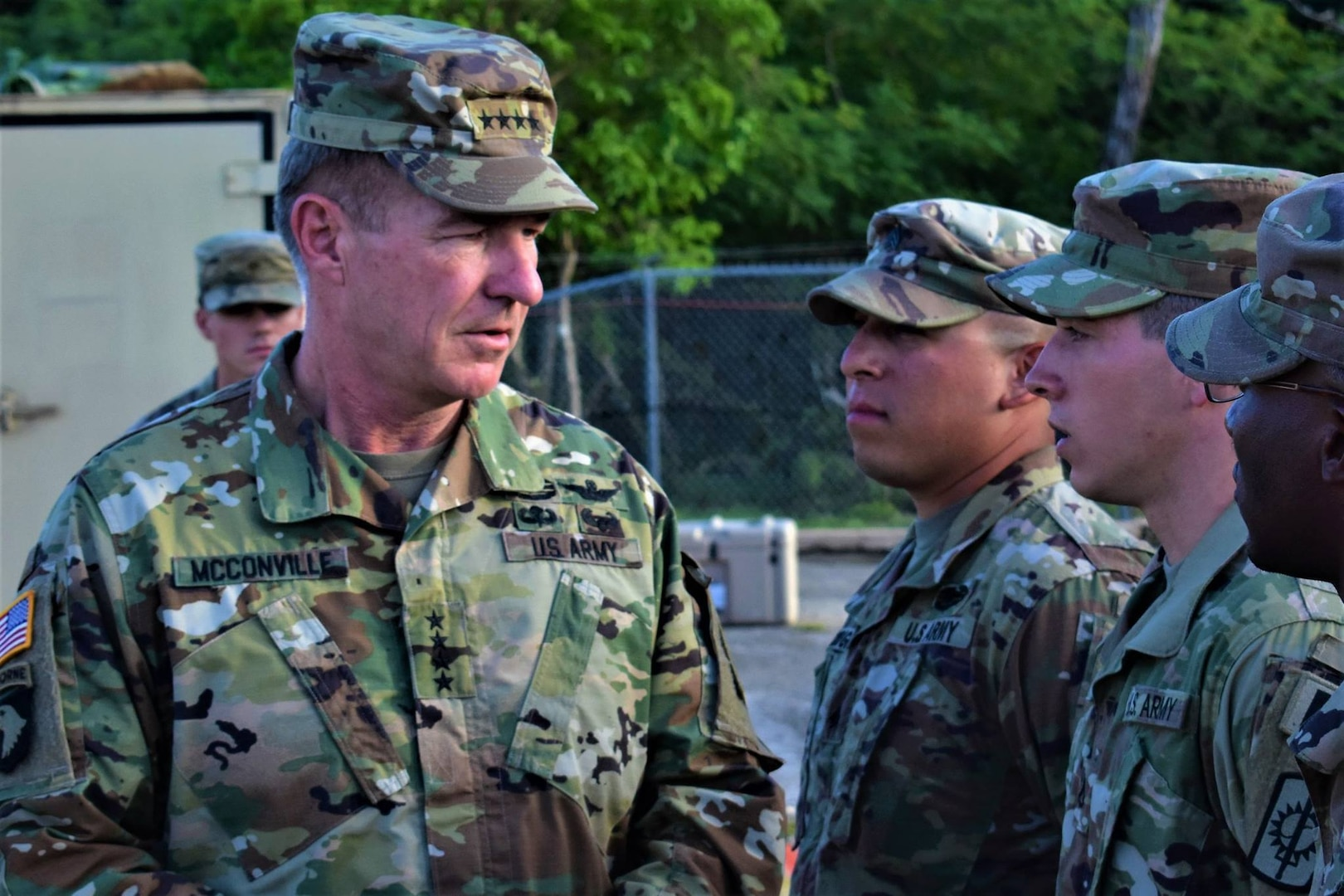 The 36th Vice Chief of Staff of the United States Army Gen. James C. McConville visited Soldiers from the 58th Military Police Company, 728th MP Bn., 8th Military Police Brigade in November 2017. Gen McConville engaged with the Soldiers about their mission before presenting them with a Coin of Excellence for their exceptional performance while conducting critical site security. The 58th Military Police Company serves as the security force in support of the 94th Army Air Missile Defense Command-led Joint Task Force Talon in Guam.