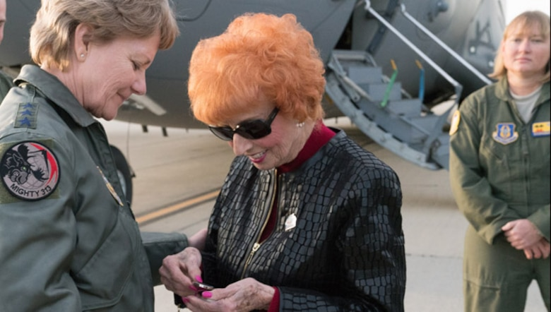 Ms. Elinor Otto visits March Air Reserve Base for a historic flight aboard the C-17.
