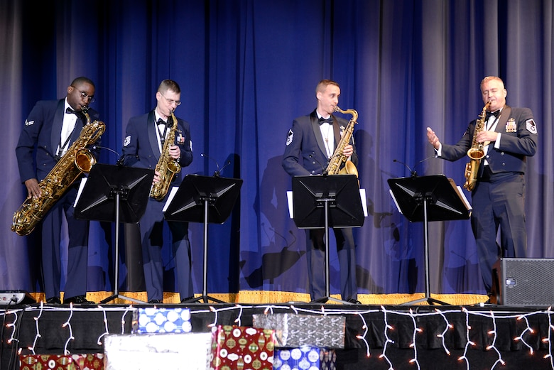 Members of the Saxophone Quartet, U.S. Air Force Band of the Pacific ensemble, perform at the Sounds of the Season concert, Dec. 19, 2017, at Yokota Air Base, Japan.