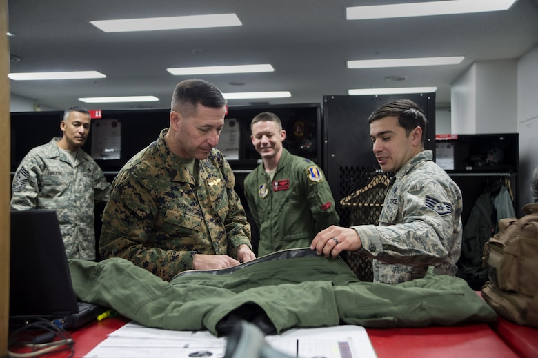 U.S. Marine Corps Sgt. Maj. Anthony Spadaro, the U.S. Pacific Command senior enlisted leader, visited Misawa Air Base, Japan, for the first time, Dec. 20 and 21.