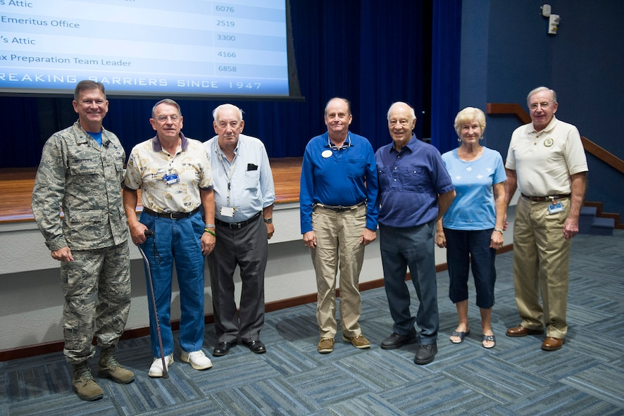 Brig. Gen. Wayne Monteith, 45th Space Wing commander, recognized and thanked 11 Project Emeritus volunteers for their dedication and service during a Commander's Call on Dec. 15, 2017, at Patrick Air Force Base, Fla. Volunteers recognized have accounted for more than 44,000 volunteer hours. By comparison, that is equivalent to 24.5 years of fulltime employment. For more information about Project Emeritus, click here. (Not all volunteers are pictured) (U.S. Air Force photo by Phil Sunkel)