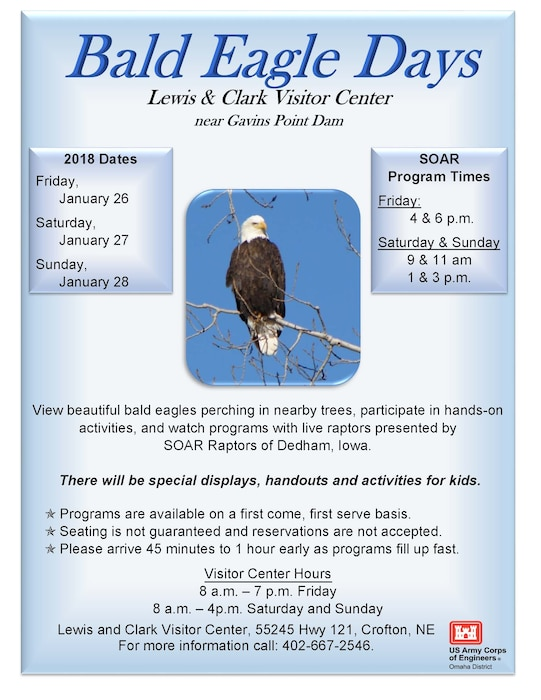 Poster with a photo of a bald eagle along with dates and times of the event.