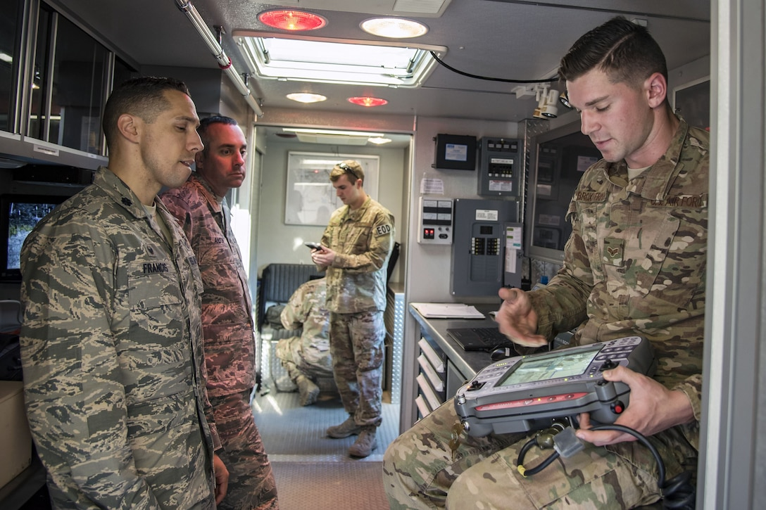 Senior Airman Trenton Broxterman, 23d Civil Engineer Squadron (CES) Explosive Ordinance Disposal (EOD) apprentice, explains a display screen to Lt. Col Michael Francis, 23d CES commander, during a response training exercise, Dec 21, 2017, at Moody Air Force Base, Ga. The EOD Airmen were evaluated on their ability to respond to a distress call, locate, identify and neutralize an improvised explosive device. (U.S. Air Force photo by Airman Eugene Oliver)