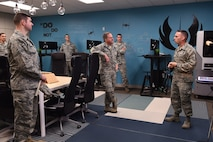 Chief of Staff of the Air Force Gen. David L. Goldfein meets with 548th Intelligence, Surveillance and Reconnaissance Group Airmen in the unit's local AFwerX innovation accelerator during a site visit Nov. 30, 2017, to Beale Air Force Base, California.