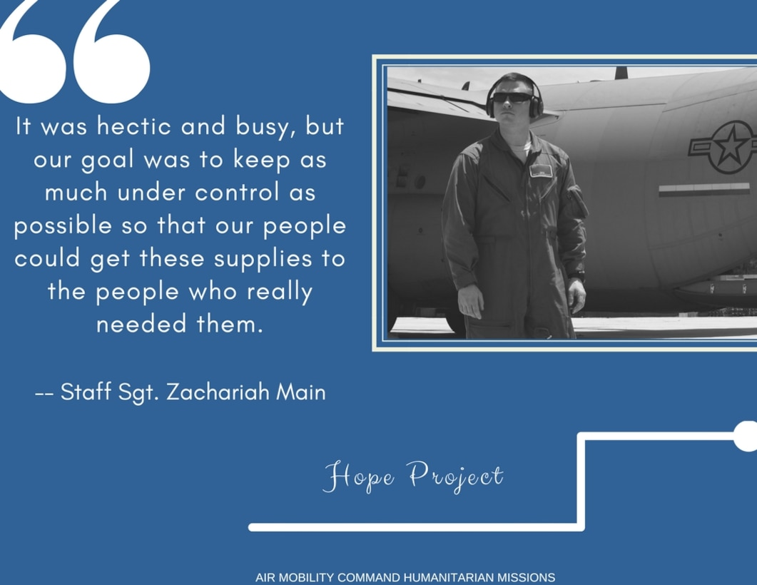 Staff Sgt. Zachariah Main, 19th SFS FAST member, speaking on Little Rock Air Force base's support of Peru humanitarian missions. (U.S. Air Force graphic by Candy Knight)