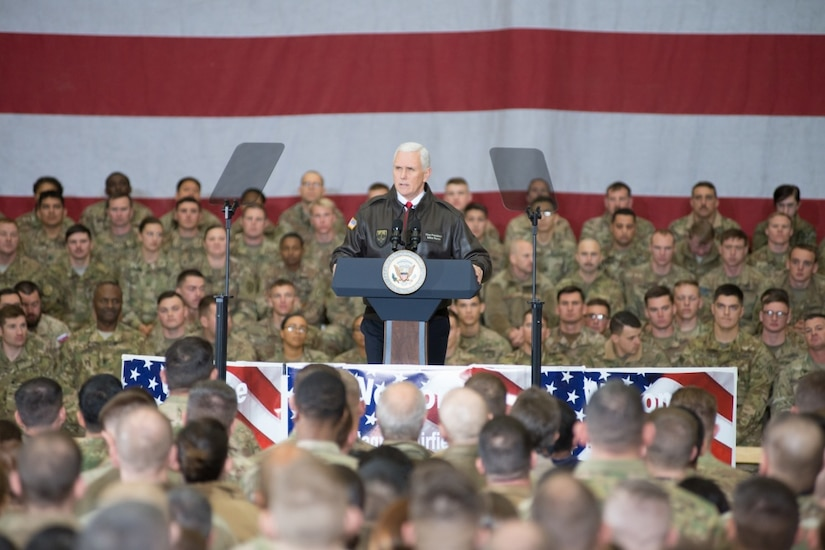 Vice President Mike Pence speaks to service members.