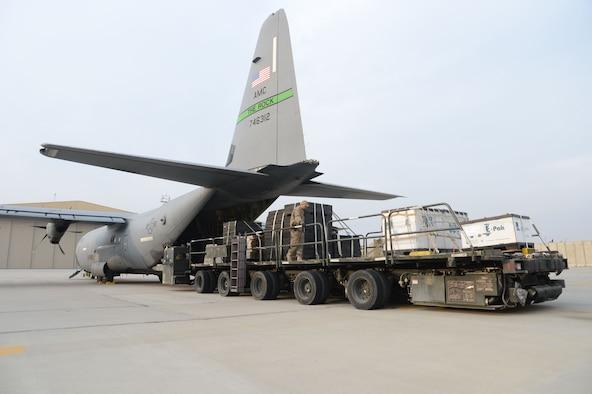 Cargo is loaded onto a C-130J Super Hercules Dec. 9, 2017 at Bagram Airfield, Afghanistan.