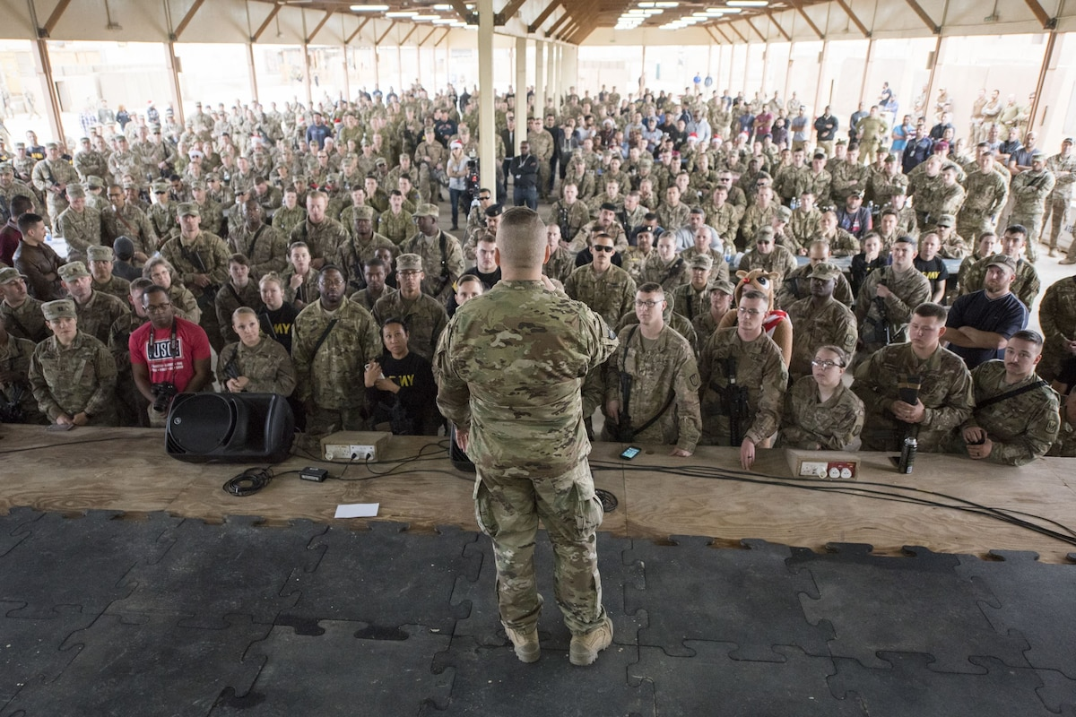 Army Command Sgt. Maj. John W. Troxell, senior enlisted advisor to the chairman of the Joint Chiefs of Staff speaks to an audience of service members.