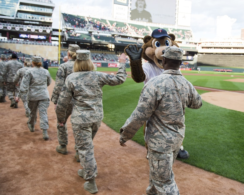 Outstanding airmen from the 133rd Airlift Wing were recognized before a Minnesota Twins home game at Target Field in Minneapolis, Minn., May 2, 2017.
