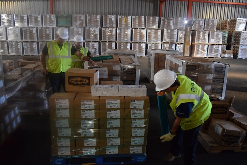 Tons of critical power grid materials arrive daily for housing at the Ponce, Puerto Rico, warehouse.