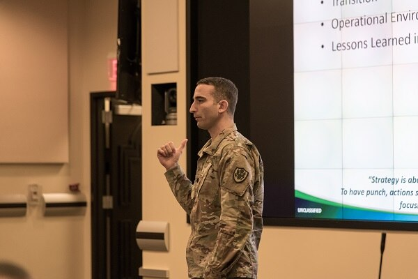 Army Lt. Col. Brian Scicluna, a DIA strategist, describes ways the military workforce can contribute to executing the DIA strategy during an off-site event, Dec. 18, at Joint Base Andrews, Maryland.