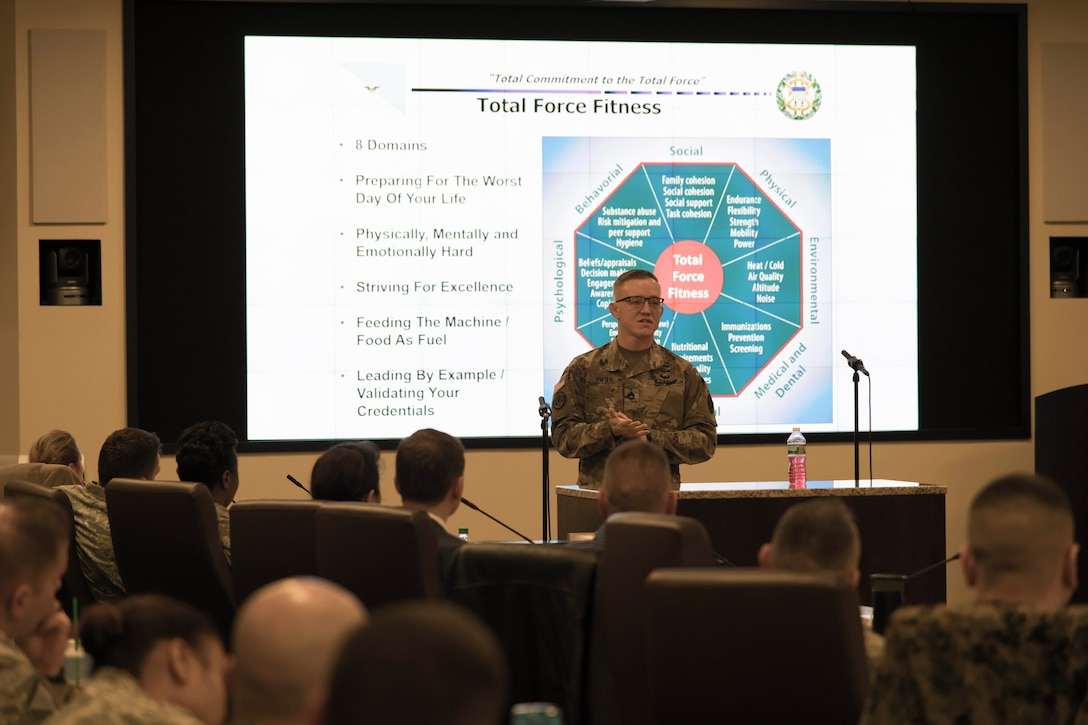 Army Sgt. First Class Colton Smith, senior enlisted advisor to the chairman of the Joint Chiefs of Staff, discusses total force fitness and nutrition during the senior enlisted off-site, Dec. 18, at Joint Base Andrews, Maryland.
