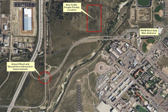 Road improvements outside the west gate at Peterson Air Force Base, Colorado are scheduled to begin the first week of Jan. 2018. Street lights will be placed at Stewart Avenue and Airport Road to help the flow of traffic during construction of a FedEx freight facility in February. (Courtesy graphic)
