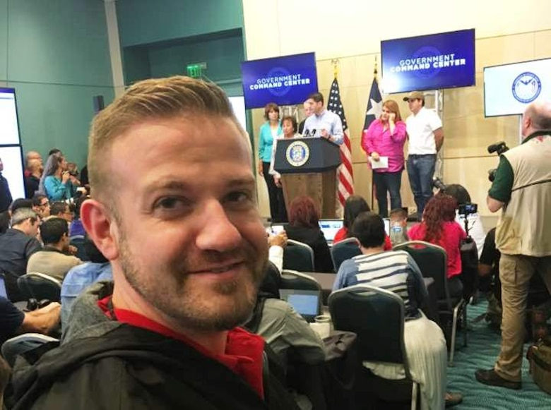 Public affairs specialist Dr. Michael Izard-Carroll attends Speaker Paul Ryan's press conference in San Juan, PR on Oct. 13, 2017.