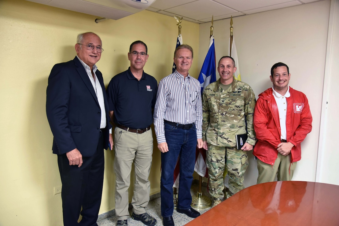 Attorney Eliezer Aldarondo, USACE Puerto Rico U.S. Army Corps of Engineers Task Force Power Restoration team members met with Bayamon city leaders to discuss the potential use of city land space at the Bayamon sports complex in the greater San Juan metropolitan area Dec. 22.