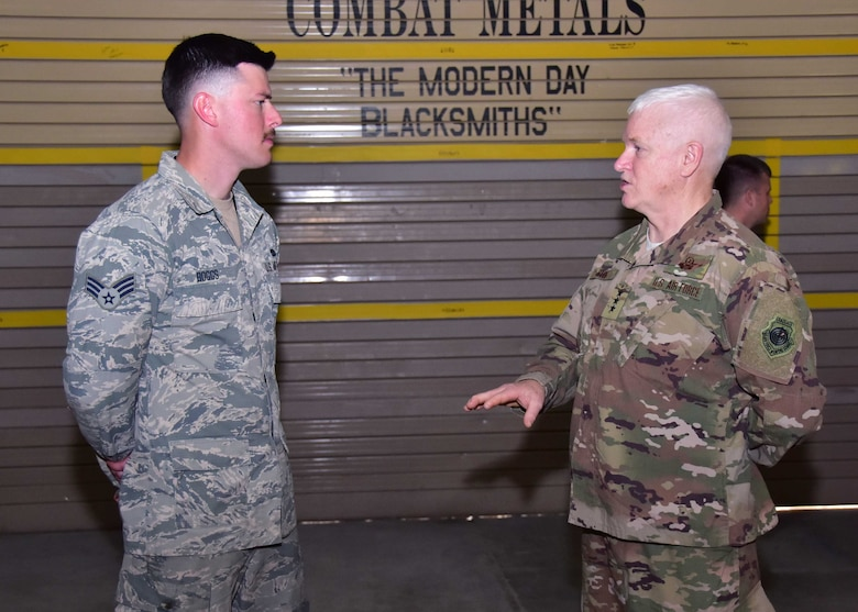 Lt. Gen. L. Scott Rice, Air National Guard director and Chief Master Sgt. Ronald Anderson, ANG command chief, paid a visit to Guardsmen currently attached to the 386th Air Expeditionary Wing on Christmas day at an undisclosed location in Southwest Asia.