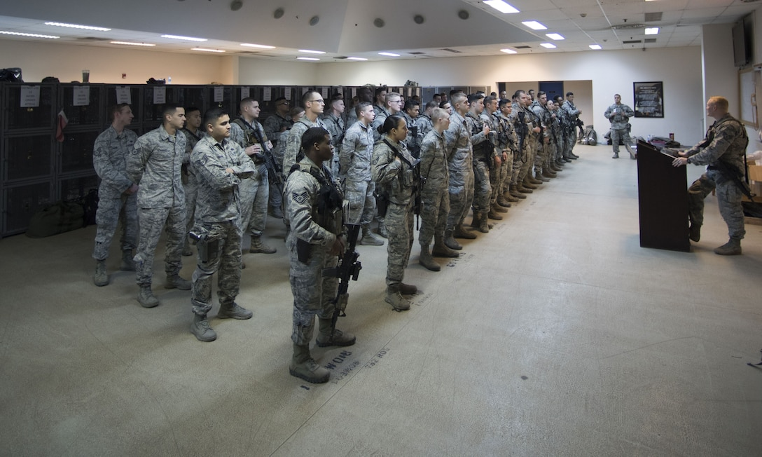Group of Security Forces Airmen during Guardmount