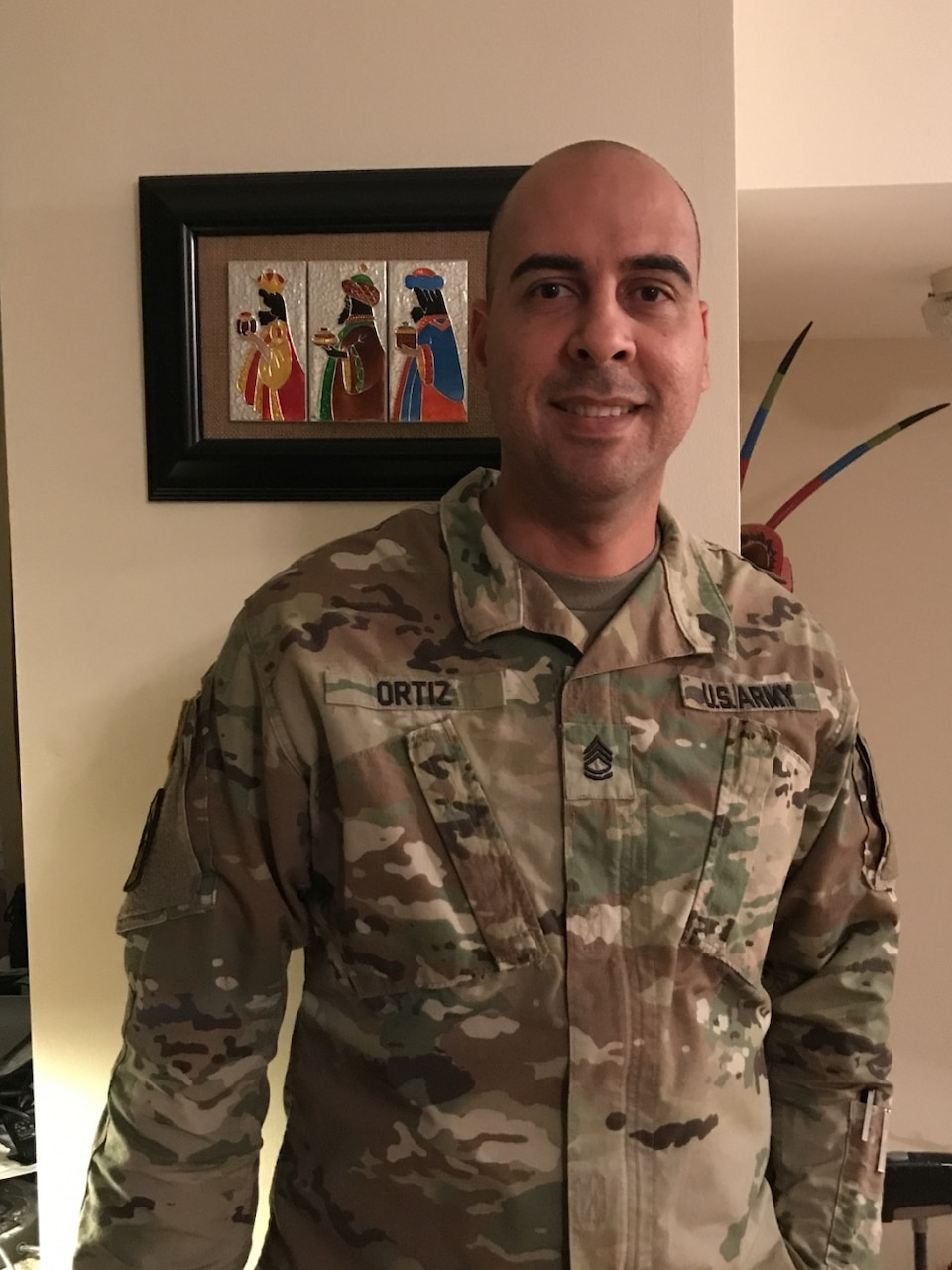 Army Sgt. 1st Class Rafael Ortiz, a cybersecurity noncommissioned officer with the 781st Military Intelligence Battalion, poses for a photo at Fort George G. Meade, Md., Dec. 7, 2017. Ortiz used his personal leave time to cover his 21-day deployment with the Red Cross to assist others after Hurricane Maria struck Puerto Rico, a U.S. territory, on Sept. 20. Courtesy photo