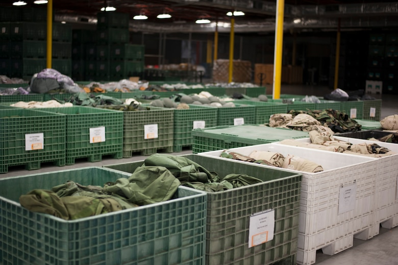 Crates of individual protective equipment (IPE) line the floor of the 6th Logistics Readiness Squadron warehouse at MacDill Air Force Base, Fla., Dec. 28, 2017.