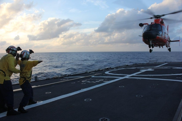Image of flight operations aboard Coast Guard Cutter Legare