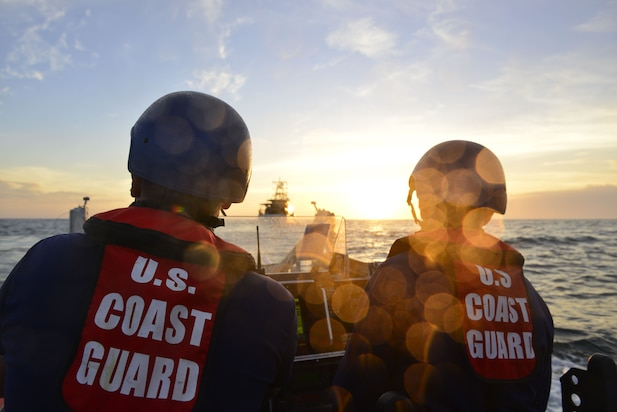 Image of Coast Guard Cutter Jacob Poroo crew following vessel's commissioning