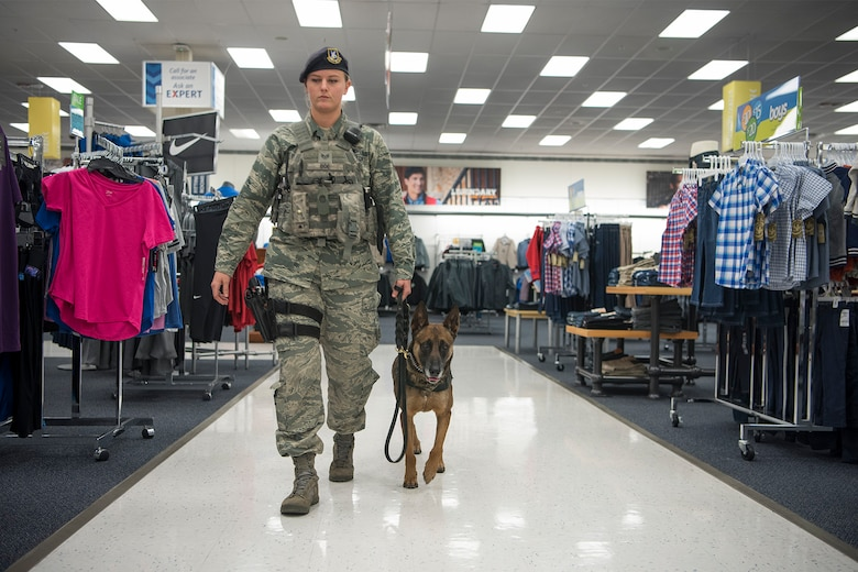 Staff Sgt. Chelsea Boe, 21st Security Forces Squadron military working dog handler, and her dog Gina are performing a walk-through of the base exchange at Peterson Air Force Base, Colorado, on Dec. 22, 2017. Part of a military wokrign dog handlers daily duties is random walk-throughs of areas around base. (U.S. Air Force photo by Steve Kotecki)