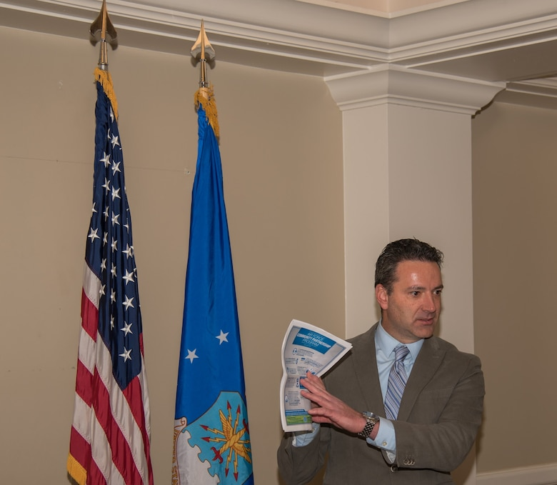 Fred Brooks, 21st Civil Engineer Squadron environmental element chief, speaks at the Area Chiefs of Staff meeting on Peterson AFB, Colorado Dec. 20 2017. ACOS discussed the Air Force Community Partnership program and its benefits to the local area. (U.S. Air Force photo by 2nd Lt. Justin Davidson-Beebe)