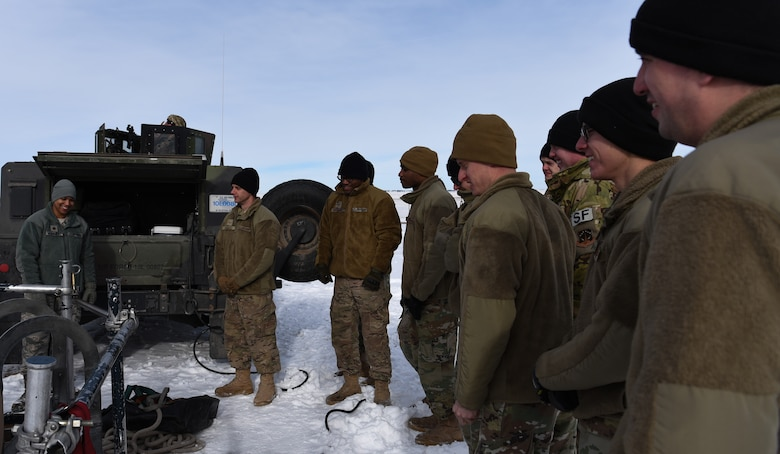 A group of 90th Missile Security Forces defenders listen to an entry brief before going down into a missile launch facility in the F.E. Warren Air Force Base missile complex, Dec. 28, 2017. Members of the 90th Missile Security Forces Squadron got the chance to go into a missile launch facility to see what they protect every day.