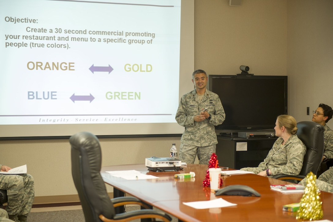 Maj. Francis J. Tobias, director of Equal Opportunity for the 940th Air Refueling Wing, explains a team building activity to wing members Dec. 3 at Beale Air Force Base, California.