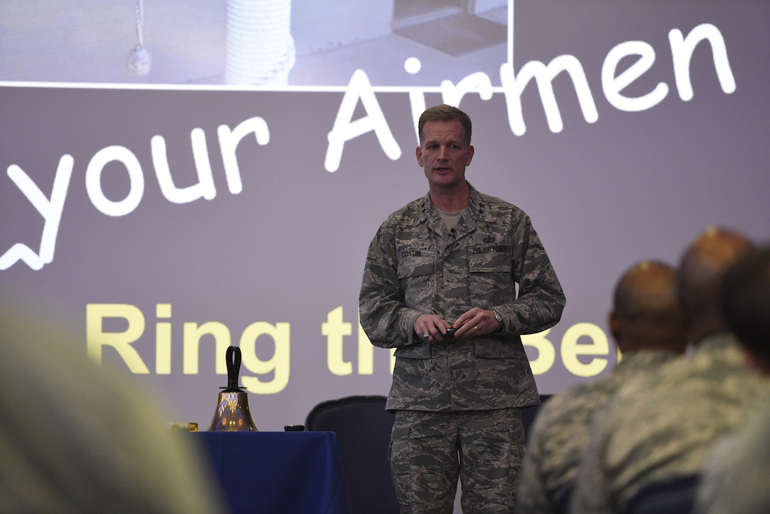 Chap. (Maj. Gen.) Dondi E. Costin, Air Force Chief of Chaplains, speaks to Airmen about resiliency at Club Eifel on Spangdahlem Air Base, Germany, Jan. 27, 2017. Costin visited here to learn about the challenges faced by Airmen and their families firsthand, while also taking the opportunity to spread his message of resiliency. (U.S. Air Force photo by Staff Sgt. Jonathan Snyder)