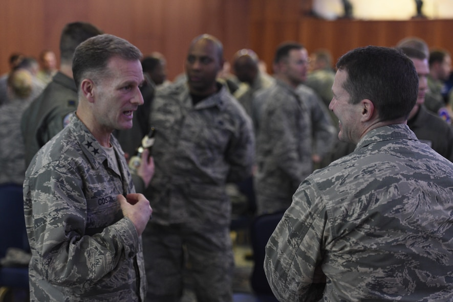 Chap. (Maj. Gen.) Dondi E. Costin, Air Force Chief of Chaplains, talks with Col. Steven Horton, 52nd Fighter Wing vice commander, at Club Eifel on Spangdahlem Air Base, Germany, Jan. 27, 2017. Costin visited here to learn about the challenges faced by Airmen and their families firsthand, while also taking the opportunity to spread his message of resiliency. (U.S. Air Force photo by Staff Sgt. Jonathan Snyder)