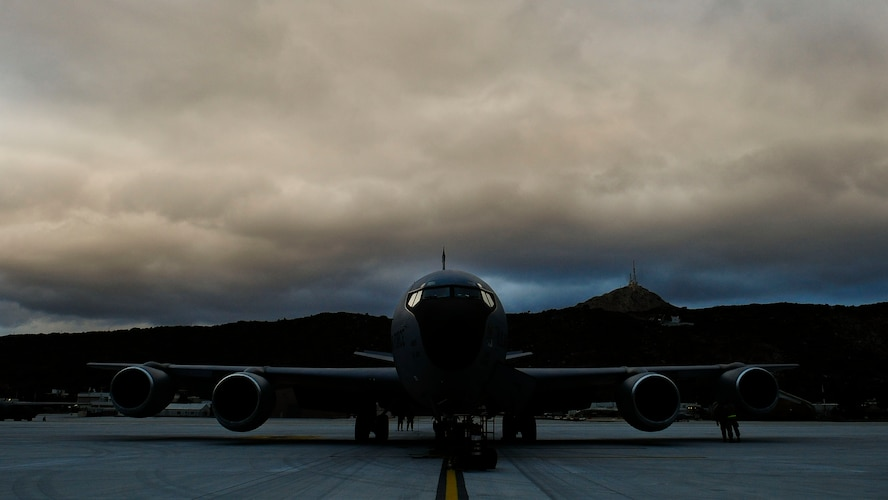 A KC-135 Stratotanker, from the Arizona Air National Guard's 161st Air Refueling Wing, sits on the runway during a flying training deployment, Jan. 25, 2017, at Souda Bay, Greece. The KC-135 refueled U.S. and Hellenic air force F-16 Fighting Falcons during the FTD, which was hosted to evaluate aircraft and personnel capabilities and increase interoperability between the two NATO allies. (U.S. Air Force photo by Staff Sgt. Austin Harvill)