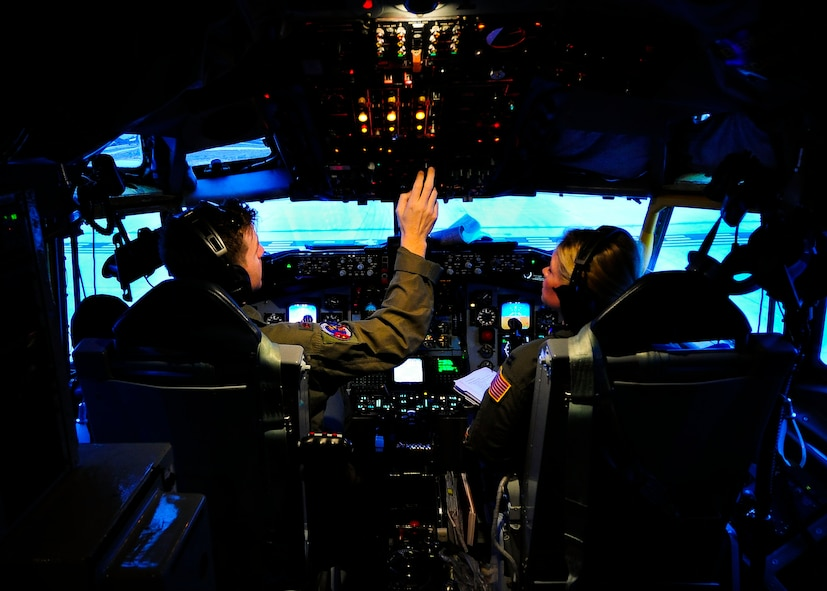 Maj. Brett Supyk and Capt. Kristy Kjornes, 161st Air Refueling Wing KC-135 Stratotanker pilots, prepare their KC-135 for takeoff during a flying training deployment, Jan. 25, 2017, at Souda Bay, Greece. The Arizona Air National Guard's 161st ARW's KC-135s performed in-flight refueling operations with F-16 Fighting Falcons from Aviano Air Base, Italy, and the Hellenic air force during the FTD. (U.S. Air Force photo by Staff Sgt. Austin Harvill)