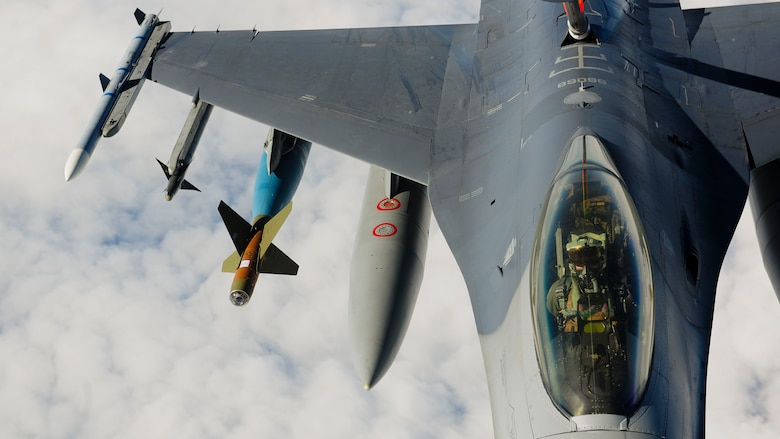An F-16 Fighting Falcon from the 555th Fighter Squadron, Aviano Air Base, Italy, receives fuel from a KC-135 Stratotanker, assigned to the Arizona Air National Guard's 161st Air Refueling Wing, Jan. 27, 2017, at Souda Bay, Greece. The KC-135 refueled U.S. and Hellenic air force F-16s during the FTD, which was hosted to evaluate aircraft and personnel capabilities and increase interoperability between the two NATO allies. (U.S. Air Force photo by Staff Sgt. Austin Harvill)