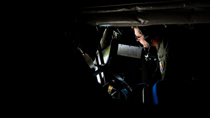 Tech. Sgt. Chad Hill, 161st Air Refueling Wing boom operator, performs refueling operations inside a KC-135 Stratotanker during a flying training deployment, Jan. 27, 2017, at Souda Bay, Greece. The Arizona Air National Guard's 161st ARW's KC-135s refueled U.S. and Hellenic F-16 Fighting Falcons during the FTD, which was hosted to evaluate aircraft and personnel capabilities and increase interoperability between the two NATO allies. (U.S. Air Force photo by Staff Sgt. Austin Harvill)