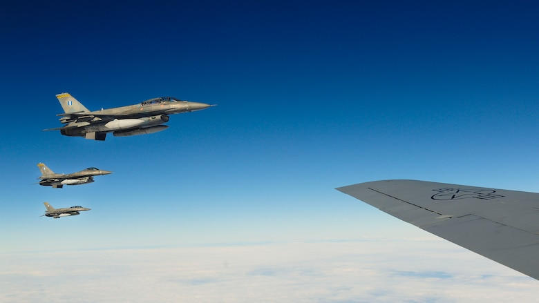 Hellenic air force F-16 Fighting Falcons fly alongside a KC-135 Stratotanker from the Arizona Air National Guard's 161st Air Refueling Wing during a flying training deployment, Jan. 27, 2017, at Souda Bay, Greece. The KC-135 refueled U.S. and Hellenic air force F-16s during the FTD, which was hosted to evaluate aircraft and personnel capabilities and increase interoperability between the two NATO allies. (U.S. Air Force photo by Staff Sgt. Austin Harvill)