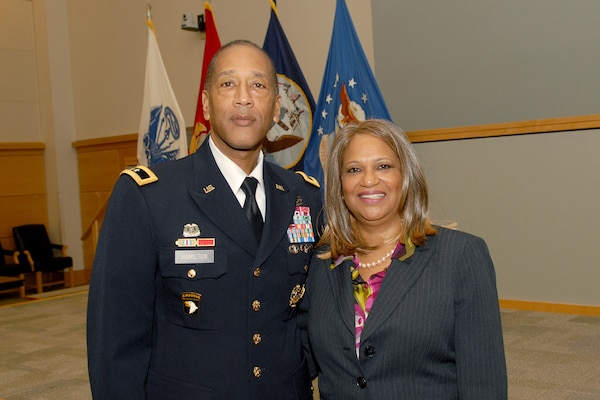 Army Brig. Gen. Charles Hamilton, DLA Troop Support commander, stands with Sheilah D. Vance, Esq., professor at Villanova University Law School, who was the guest speaker at the annual Martin Luther King, Jr. Day observance program Jan. 26.