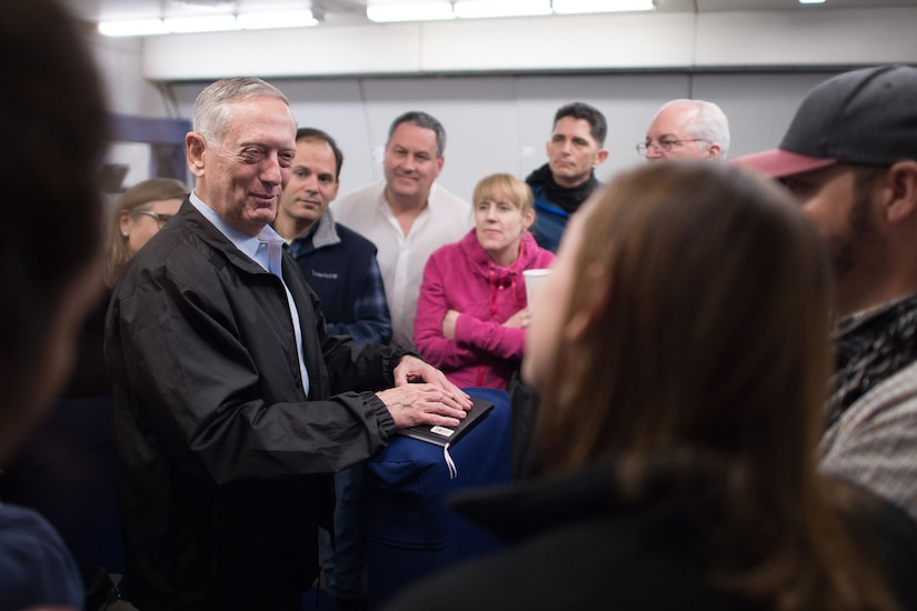 Defense Secretary Jim Mattis answers questions from reporters during a flight to South Korea, Feb. 1, 2017. Mattis is traveling to Seoul and Tokyo for meetings with his counterparts. DoD photo by Army Sgt. Amber I. Smith