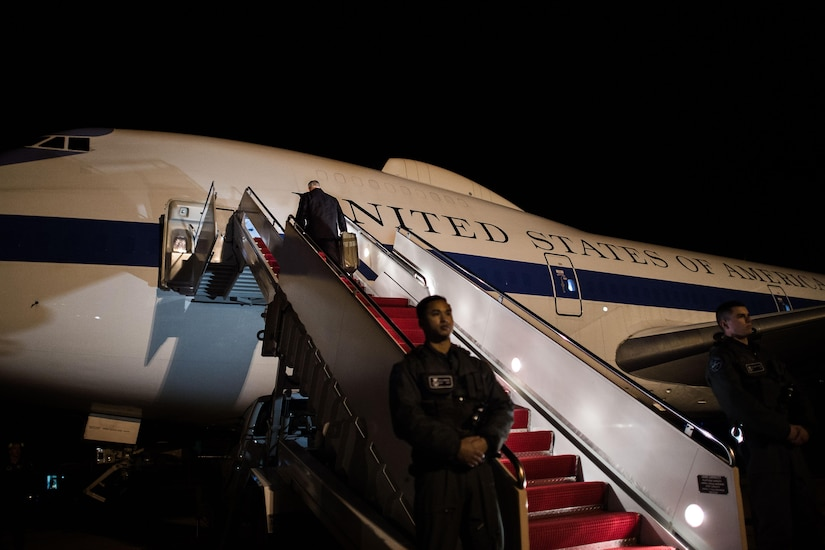 Defense Secretary Jim Mattis leaves Andrews Air Force Base, Md., for a four-day trip to the Asia-Pacific, Feb. 1, 2017. Mattis will meet with his counterparts in South Korea and Japan during his first overseas trip as defense secretary. DoD photo by Army Sgt. Amber I. Smith