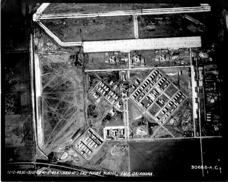 Vance Air Force Base, Okla. has expanded significantly since this aerial photo of the base was taken in 1941. More than 30,300 pilots have earned their wings here in the last 76 years. (Courtesy Photo)