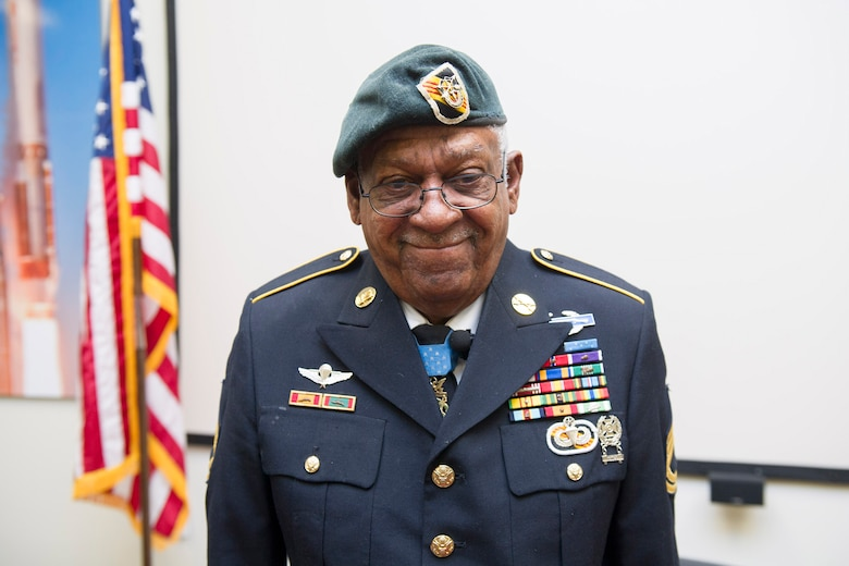 Retired U.S. Army Sgt. 1st Class Melvin Morris, Medal of Honor recipient, wears his 55-year old Green Beret, Jan. 31, 2017, at Patrick Air Force Base, Fla.  Morris's Green Beret has never left his side since the day President John F. Kennedy visited Fort Bragg and authorized U.S. Army Special Forces to wear Green Berets. (U.S. Air Force photo by Phil Sunkel)