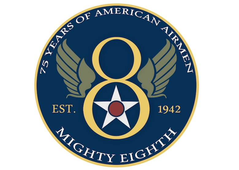 Coin and patch design created for Eighth Air Force's 75th anniversary. (U.S. Air Force graphic/Airman 1st Class J.T. Armstrong)